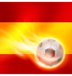 Burning football on spain flag background vector