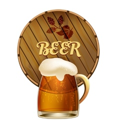 Mug of frothy beer with a barrel vector