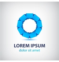 Blue 3d abstract loop logo business icon vector