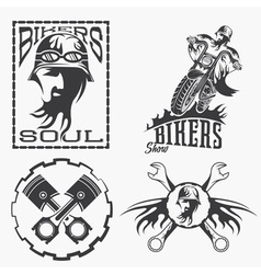 Bikers theme labels with biker manmotorbike and vector