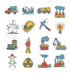 Industrial sketch icon set vector