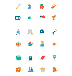 Food and drinks colored icons 17 vector