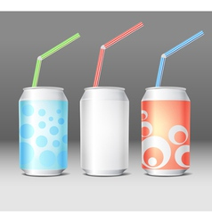 Collection of colorful steel cans with ornament vector