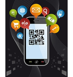 Go social via smartphone qr code application on vector