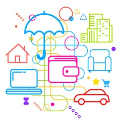 Symbols of property insurance online on abstract vector
