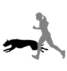 Woman jogs with dog vector