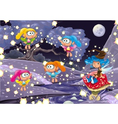 Cartoon landscape with fairies vector