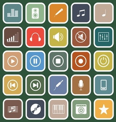 Music flat icons on green background vector
