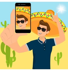 Selfie of funny guy wearing a sombrero vector
