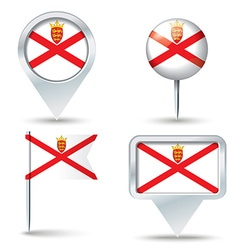 Map pins with flag of jersey vector