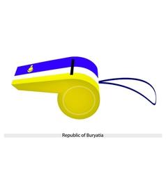Blue white and yellow stripe on buryatia whistle vector