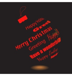 A black christmas ball of made greeting phrases vector
