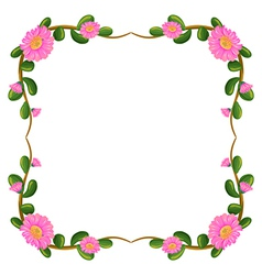 A floral border with pink flowers vector