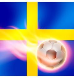 Burning football on sweden flag background vector