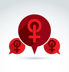 Speech bubble with a red female sign woman gender vector