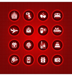 Set valentines day icons romantic travel vector