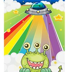 A three-eyed monster near a spaceship vector