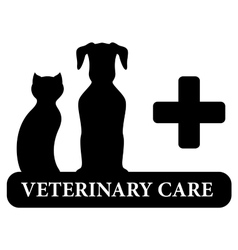 Veterinary symbol with animal pet silhouette vector