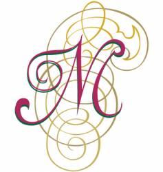 Script letter m vector