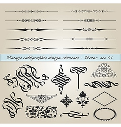 Vintage calligraphic design elements vector