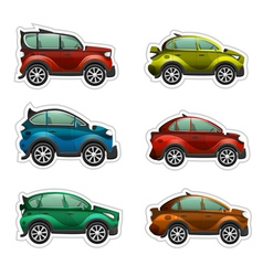 Toy cars stickers vector