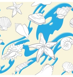 Seamless hand drawn background underwater tropical vector