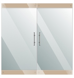 Glass door with chrome silver handles set vector