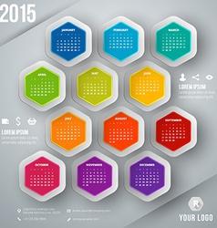 Calendar 2015 template week starts sunday vector