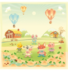 Baby farm animals in the countryside vector