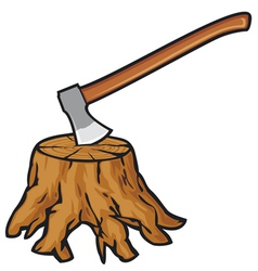 Old tree stump with roots and axe vector