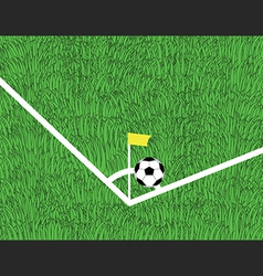 Soccer ball is corner kick on the field vector