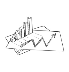Hand draw doodle business data market vector