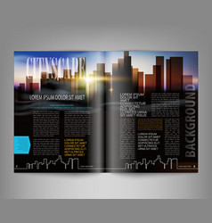 Template print edition of the magazine with night vector