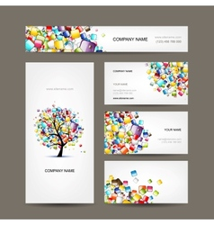 Business cards collection with web tree design vector