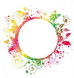 Floral round frame 2 v vector