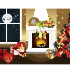 Christmas room vector