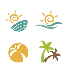 Set logos beach summer vector