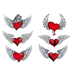 Winged heart icons and tattoos vector