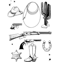 Cowboy and wild west accessories vector