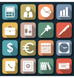 Business and office flat icons vector