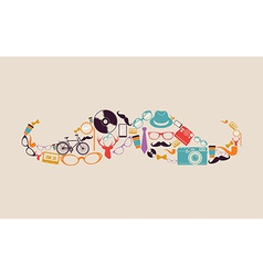 Retro hipsters icons mustache vector