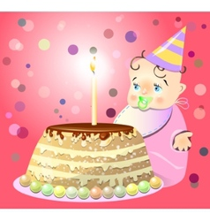 One birthday celebrate cake baby vector