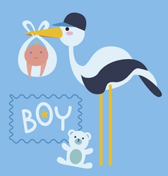 Stork bird with baby boy vector