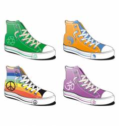 Shoes with peace symbol vector