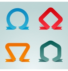 Standing upright folded ribbons vector
