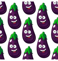 Happy eggplant or aubergine seamless pattern vector