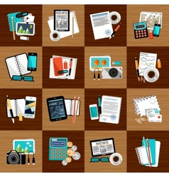 Business workplace with office things vector