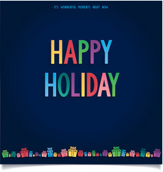 Happy holiday card with gift and letter in sweet s vector