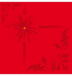 Red background with a bow vector