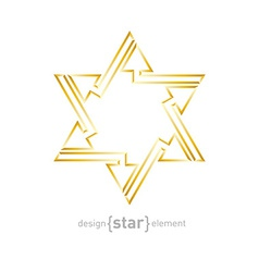 Abstract golden star with arrows on white vector